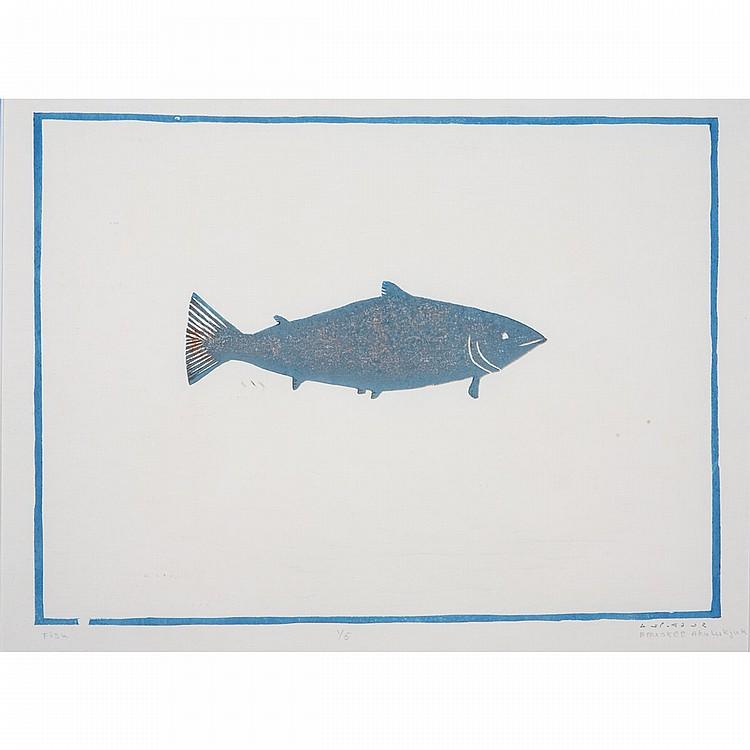 ENUKEE AKULUKJUK (1943-), FISH, stencil (framed), 13.25