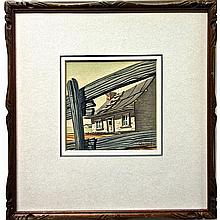 """LESLIE COPPOLD (CANADIAN, 1914-2007), OLD HOMESTEAD THRU RAIL FENCE, WATERCOLOUR; SIGNED AND DATED '42, Sight 4.8"""" x 4.8"""" - 12.2 x 12.2 cm."""