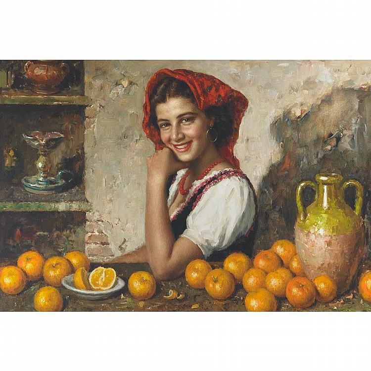 Luigi Amato (1898-1961), Italian. GIRL WITH ORANGES