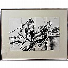 """GRAHAM CANTIENI (CANADIAN, 1938-), POLYPHONIE XXIX, FOUR INK SHEETS IN ONE FRAME; SIGNED AND DATED '76 411 TOP RIGHT (Each sheet size, 5"""" x 13"""") (Total image, 13"""" x 20"""") Note: glass cracked bottom left"""