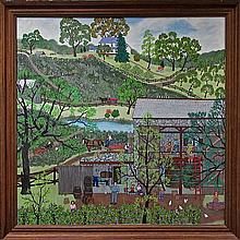 """JANIS PRICE (AMERICAN, 1933-), UNTITLED (RURAL LIVING), OIL ON CANVAS; SIGNED LOWER RIGHT, 40"""" x 40"""" - 101.6 x 101.6 cm."""