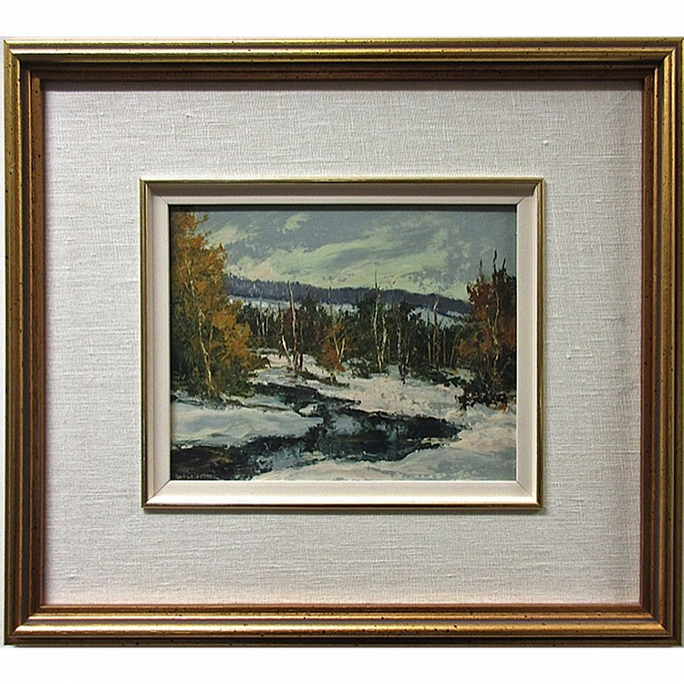 WILF FRANK GRIFFITHS (CANADIAN, 1917-2000), CREEK IN WINTER, HALIBURTON, OIL ON MASONITE; SIGNED LOWER LEFT; SIGNED AND TITLED VERSO - Inventory number 3926, 8