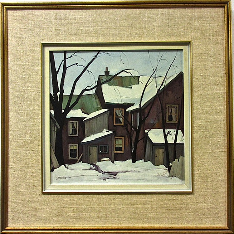 JAMES (JIM) A. BIRNIE (CANADIAN, 20TH CENTURY), REAR VIEW, BALDWIN ST., TORONTO, OIL ON MASONITE; SIGNED LOWER LEFT; TITLED TO ARTIST LABEL AND GALLERY LABEL VERSO, 12