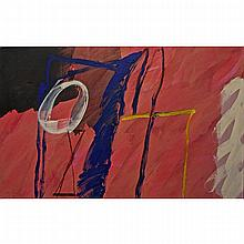 """GRAHAM CANTIENI (CANADIAN, 1938-), JICARILLA, ACRYLIC ON CANVAS; SIGNED AND DATED '01 LOWER LEFT; SIGNED, TITLED AND DATED 2001 51 VERSO - UNFRAMED, STRETCHER ONLY, 30"""" x 48"""" - 76.2 x 121.9 cm."""