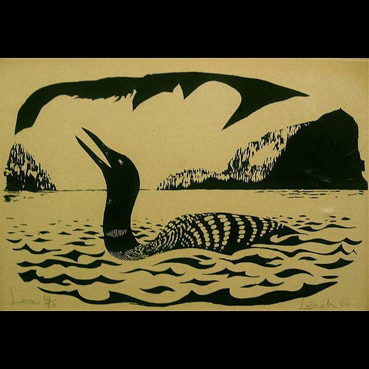 JOHN LEACH (1938?-) CANADIAN LOON; HOODED