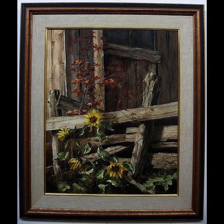 RUDI REICHARDT (CANADIAN, 1929-) SUNFLOWERS; OIL