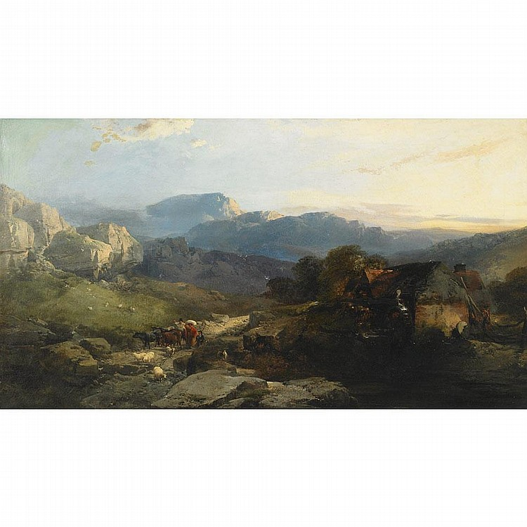 Henry Bright (1814-1873), GLYNN CEIRIOG, WALES, Oil on canvas; signed and dated 18.. lower left, titled to label verso, 24