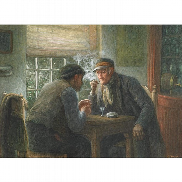 Gerke Henkes (1844-1927), OLD FRIENDS CHATTING AT THE PUB, Watercolour; signed lower right, 19.75
