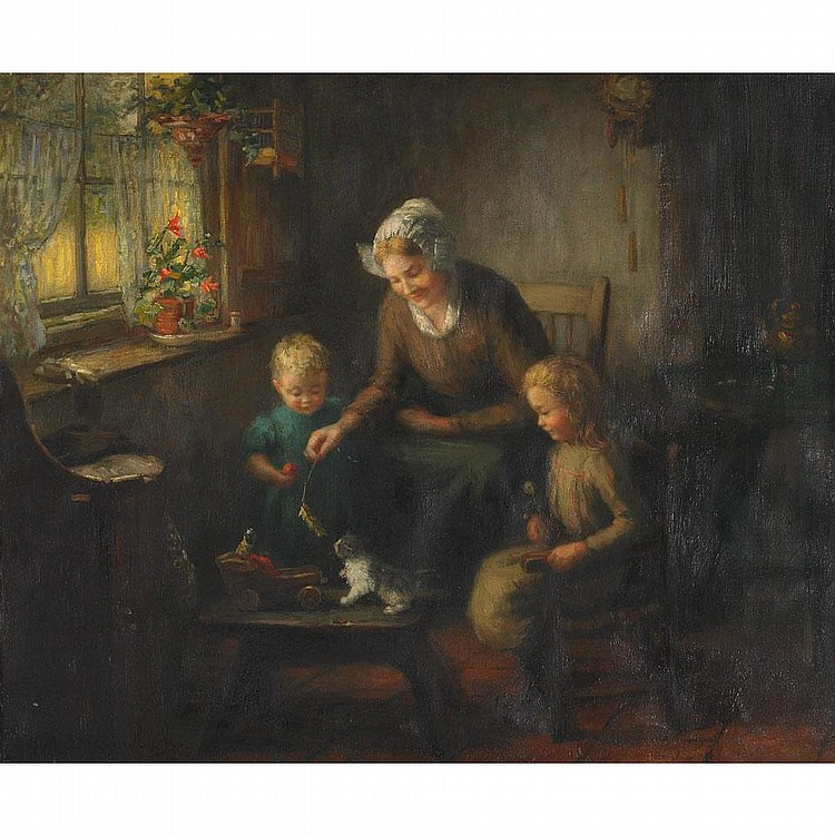Hendricus Anthonius Dievenbach (1872-1946), PLAYTIME, Oil on canvas; signed lower left, titled to gallery label verso, numbered No. 1 to the stretcher, 19.75