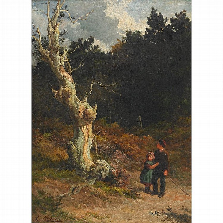 Edward Holmes (?-c. 1893), YOUNG TRAVELERS AND THE OLD HAUNTED TREE, Oil on canvas laid on board; signed lower left, 26.75