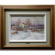 UMBERTO BRUNI (CANADIAN, 1914-), DERNIERS RAYONS (CHARLEVOIX, P.QUE.), OIL ON CANVAS BOARD; SIGNED LOWER RIGHT; SIGNED, TITLED AND DATED 1980 VERSO, 12 x 16 in -- 30.5 x 40.6 cm