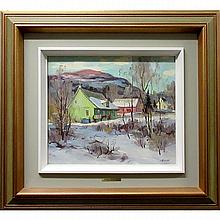 UMBERTO BRUNI (CANADIAN, 1914-), HIVER DOUX LES LAURENTIDES (A LA FERME), OIL ON CANVAS BOARD; SIGNED LOWER RIGHT; SIGNED, TITLED AND DATED 1981 VERSO, 12 x 14 in -- 30.5 x 35.6 cm
