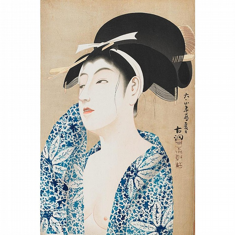 Yamanaka Kodo (1869-1945), AFTER A BATH, 1935, 15.4