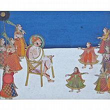 Mewar School, RAJA WITH DANCING ATTENDANTS, 17TH CENTURY