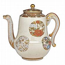 Well-Painted Satsuma Wine Ewer, Signed, Meiji Period, Late 19th Century