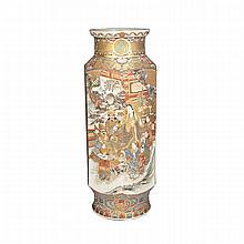 Large Satsuma Hexagonal Vase, Meiji Period, Late 19th Century
