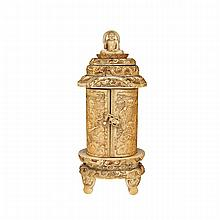 Stained Ivory Carved Portable Shrine, Meiji Period, Late 19th Century