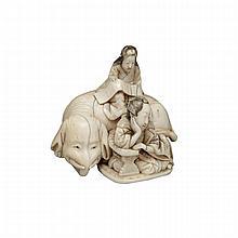 Ivory Carved Buddhist Okimono, Signed Shiku-yosai, Meiji Period, 19th Century