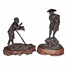 LARGE BRONZE FISHERMAN AND FARMER OKIMONO, MEIJI PERIOD, 19TH CENTURY