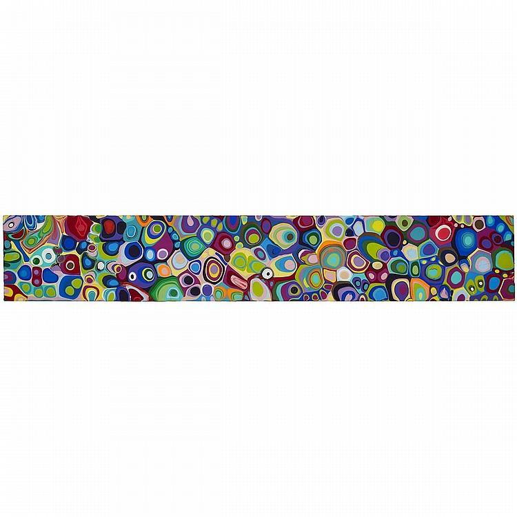 MARK GLEBERZON, KMHKMT.6X307, acrylic and resin on panel, 6 ins x 36 ins x 3  ins; 15.2 cms x 91.4 cms x 7.6 cms
