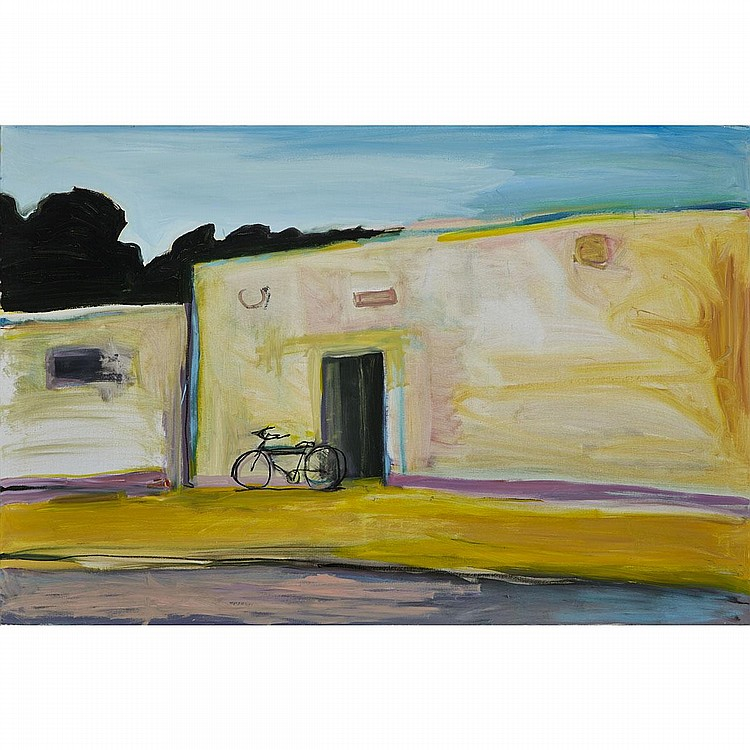 STEPHEN LACK, MEXICAN BICYCLE, oil on linen, 48 ins x 72 ins; 121.9 cms x 182.9 cms