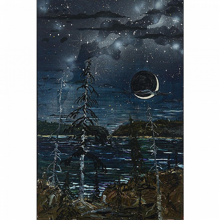 ALEX CAMERON, NIGHT SKY SHOW, GOTHIC, oil on canvas, 72 ins x 48 ins; 182.9 cms x 121.9 cms