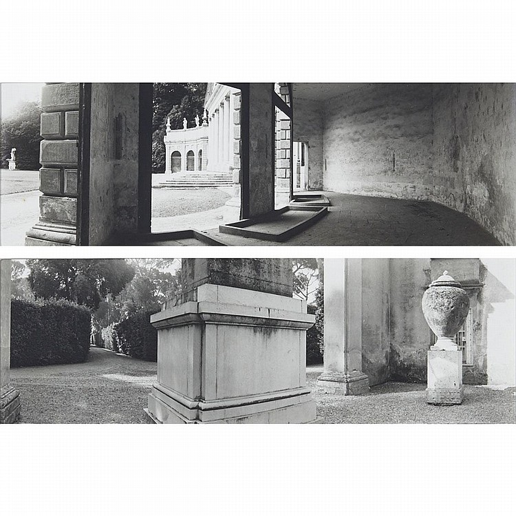 GEOFFREY JAMES, VILLA PISANI, STRA, VENETO; VILLA MEDICI, ALLEY FROM THE PINCIO WALL TO THE COURTYARD GARDEN, 1984, gelatin silver prints, each image 3.25 ins x 10.5 ins; 8.3 cms x 26.7 cms (2 Pieces)