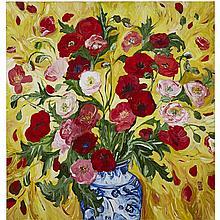 BOBBIE BURGERS, BELLE EPOQUE, acrylic on canvas, 48 ins x 45.5 ins; 121.9 cms x 115.6 cms
