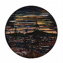 ALEX CAMERON, LAST LIGHT ON BAY FINN, oil on canvas, diameter 48 ins; 121.9 cms