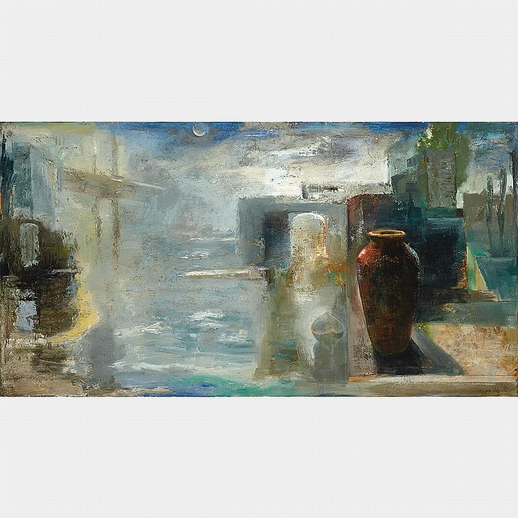 TOM HOPKINS, HARBOUR, oil on canvas, 48 ins x 90.5 ins; 121.9 cms x 229.9 cms