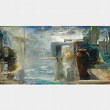 TOM HOPKINS, HARBOUR, oil on canvas, 48 ins x 90.5  ins; 121.9 cms x 229.9 cms