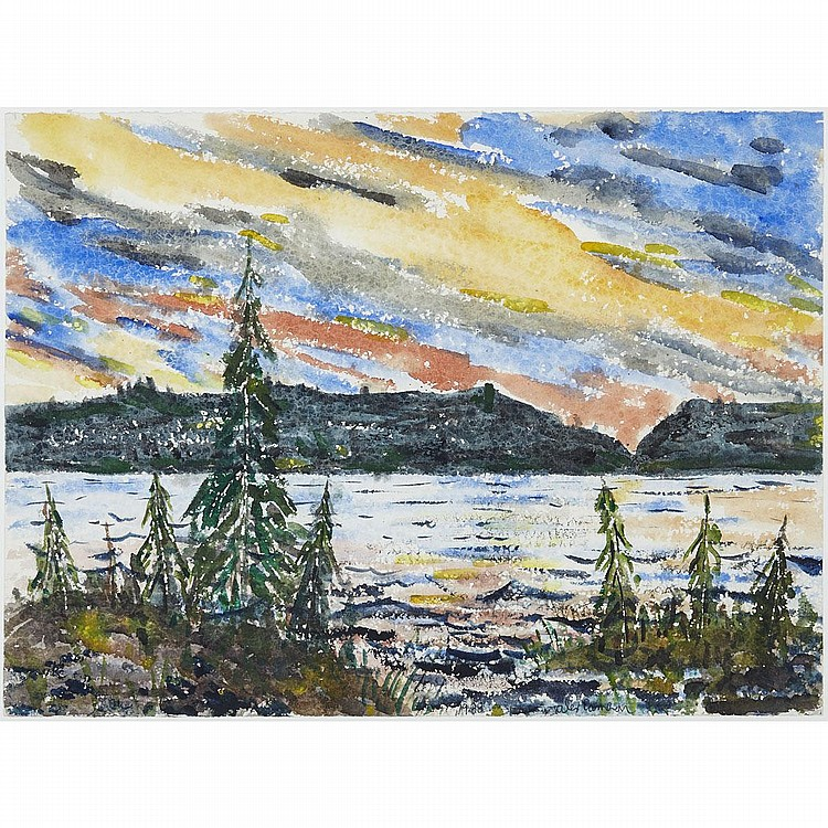 ALEX CAMERON, SUNSET OVER THE LAKE, watercolour, 22 ins x 29.5 ins; 55.9 cms x 74.9 cms
