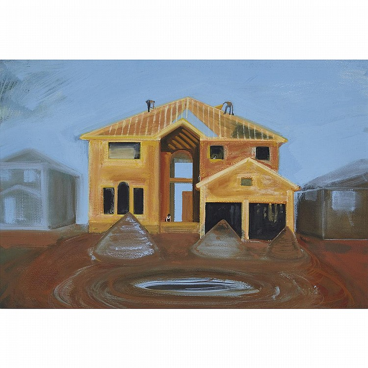 SHIRLEY WIITASALO, CONSTRUCTION, gouache on paper, 20 ins x 29 ins; 50.8 cms x 73.7 cms