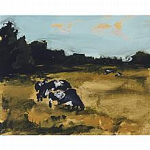 JONATHAN JOHNSON, BACK PASTURE, NORMANDY, oil on canvas, 8 ins x 10 ins; 20.3 cms x 25.4 cms