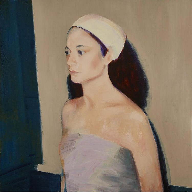 SHELLEY ADLER, UNTITLED (ZOE IN EVENING CREAM), oil on canvas, 54 ins x 54 ins; 137.2 cms x 137.2 cms