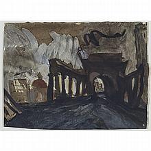 SUSANNA HELLER, MANHATTAN BRIDGE-CHINA TOWN, 1992, mixed media on paper, 6 ins x 7.75 ins; 15.2 cms x 19.7 cms