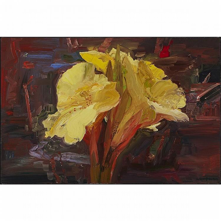 JOHN HARTMAN, R.C.A., YELLOW LILY IN DENMAN'S GARDEN, oil on linen, 20 ins x 30 ins; 50.8 cms x 76.2 cms