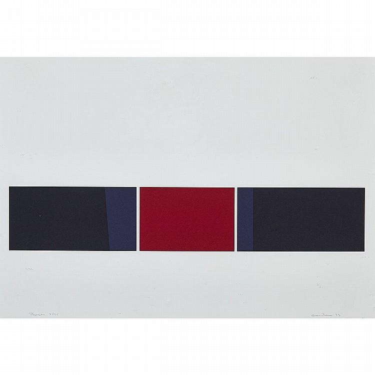 YVES GAUCHER, R.C.A., PAUSES, serigraph, 25 ins x 35.5 ins; 63.5 cms x 90.2 cms