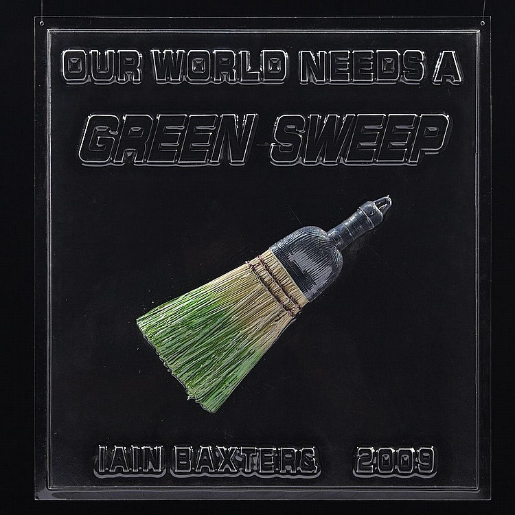 IAIN BAXTER&, OUR WORLD NEEDS A GREEN SWEEP, 2009, vacuum formed plastic with broom, 21 ins x 20.25 ins; 53.3 cms x 51.4 cms