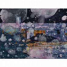 STEVE DRISCOLL, ACROSS THE ROAD, urethane and pigment on board, 33 ins x 44 ins x 1.75 ins; 83.8 cms x 111.8 cms x 4.4 cms