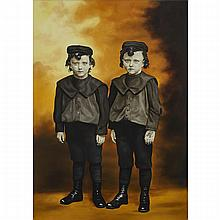 MARIANNA GARTNER, YOUNG BOYS IN APRIL, oil on canvas, 54.25 ins x 38.25 ins; 137.8 cms x 97.2 cms