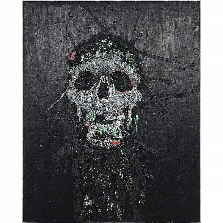 KIM DORLAND, SKULL, oil and acrylic on jute over wood panel, 60 ins x 48 ins; 152.4 cms x 121.9 cms