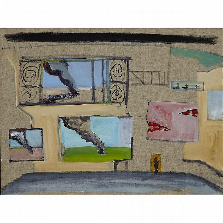 STEPHEN LACK, CONTESSA'S COURTYARD, acrylic on canvas, 15 ins x 20 ins; 38.1 cms x 50.8 cms