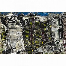 JEAN-PAUL RIOPELLE, R.C.A., NOUVELLE IMPRESSION, oil on canvas, 5.75 ins x 8.75 ins; 14.6 cms x 22.2 cms