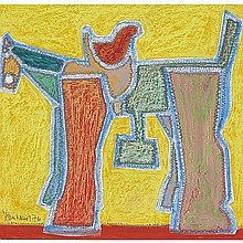 HAROLD BARLING TOWN, R.C.A., TOY HORSE, mixed media drawing on board, 15 ins x 15.5 ins; 38.1 cms x 39.4 cms