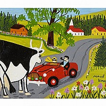 MAUD LEWIS, COW AND CAR, oil on board, 12.25 ins x 14.25 ins; 31.1 cms x 36.2 cms