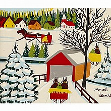MAUD LEWIS, SLEIGH AND VILLAGE, oil on board, 12 ins x 14 ins; 30.5 cms x 35.6 cms