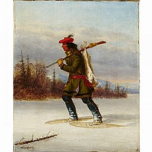 CORNELIUS KRIEGHOFF, INDIAN TRAPPER ON SNOWSHOES, oil on canvas, 10.75 ins x 9 ins; 27.3 cms x 22.9 cms