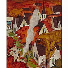 ALFRED JOSEPH CASSON, O.S.A., P.R.C.A., LEAF-BURNING, AUTUMN IN ONTARIO, oil on board, 21 ins x 17.5 ins; 53.3 cms x 44.5 cms