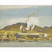 ALFRED JOSEPH CASSON, O.S.A., P.R.C.A., SAWMILL - BARRY BAY, 1959, oil on board, 12 ins x 15 ins; 30.5 cms x 38.1 cms